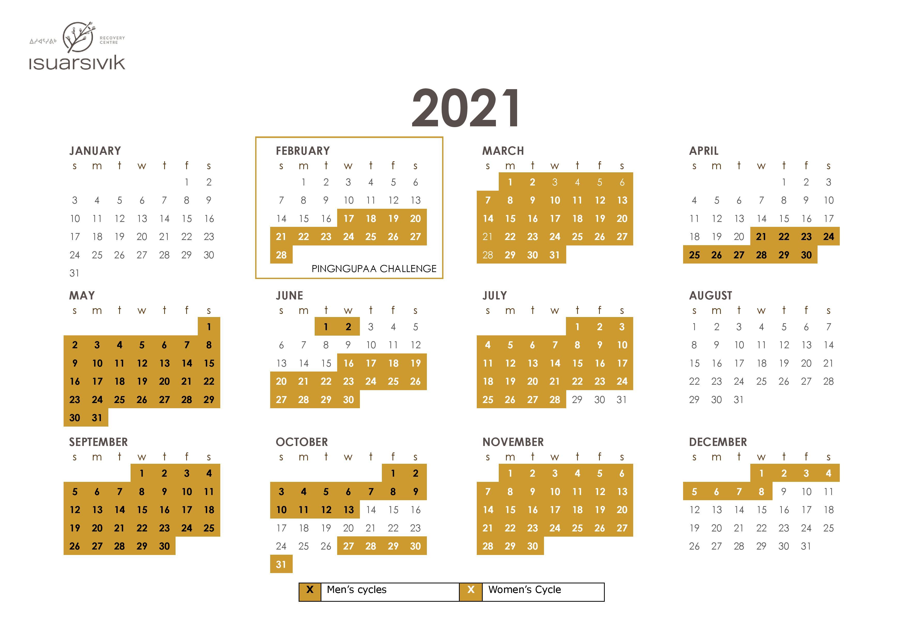 Annual Cycles Calendar 2021